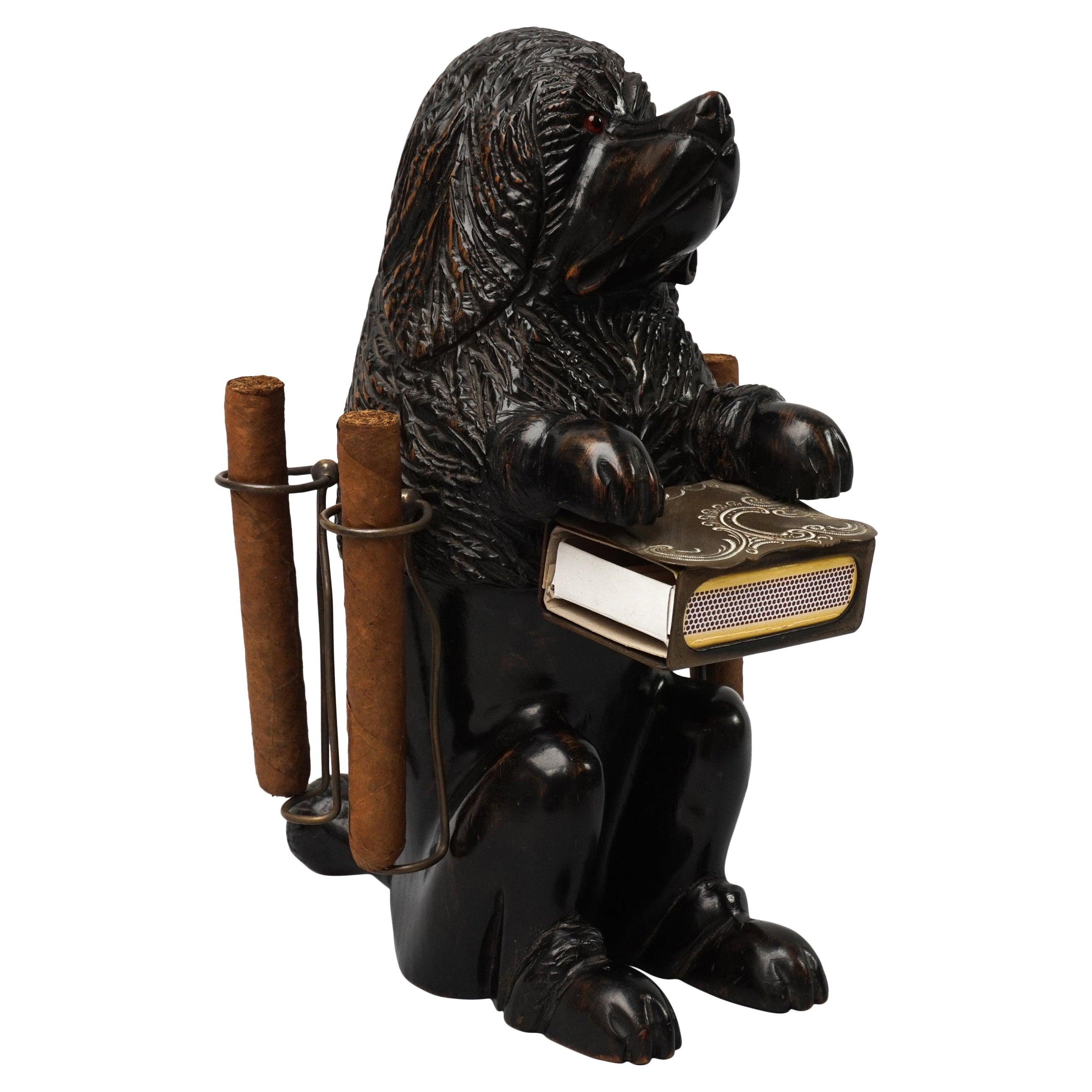 1900 Swiss Black Forest Carved Basswood Begging Dog Cigar and Matchbox Holder
