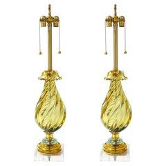 Seguso Peidot Murano Glass Lamps