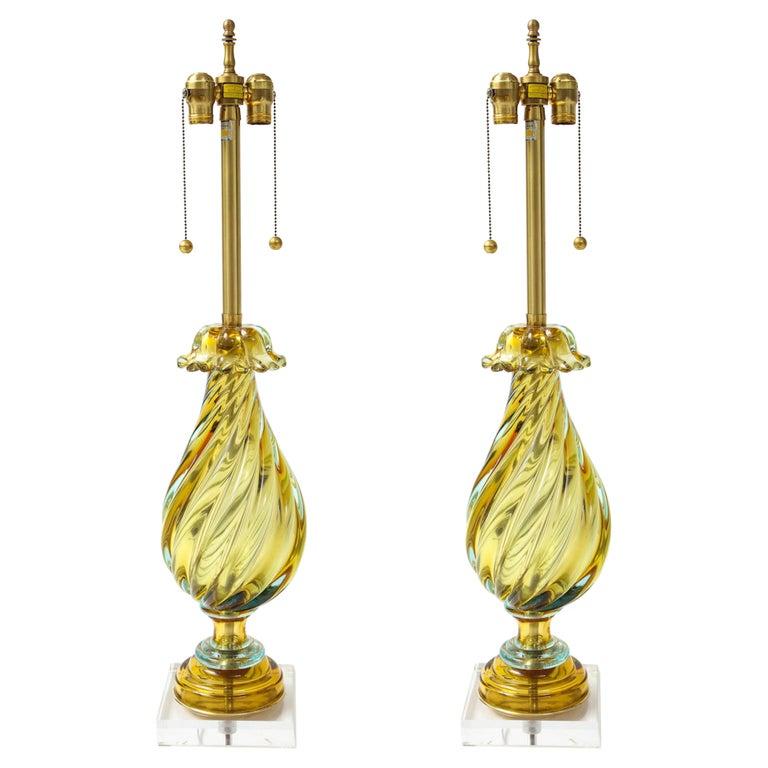 Seguso Peidot Murano Glass Lamps For Sale