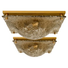 1 of the 2 Massive Textured Glass Flushmount or Wall Light by Kalmar, 1960