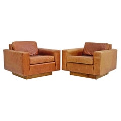 Harvey Probber Distressed Cognac Leather Lounge Chairs, a Pair