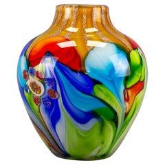 Large Italian Fratelli Toso Murano Glass Millefiori Flowers Convex Vase