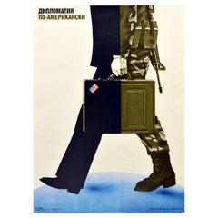 Original Vintage USSR Cold War Poster Diplomacy American Way US Soldier Diplomat