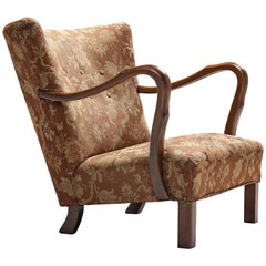 Italian Art Deco Lounge Chair in Floral Upholstery
