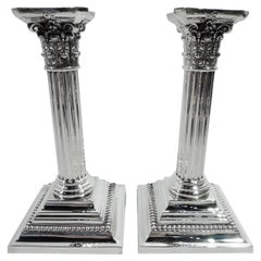 Pair of Gorham Edwardian Classical Sterling Silver Candlesticks