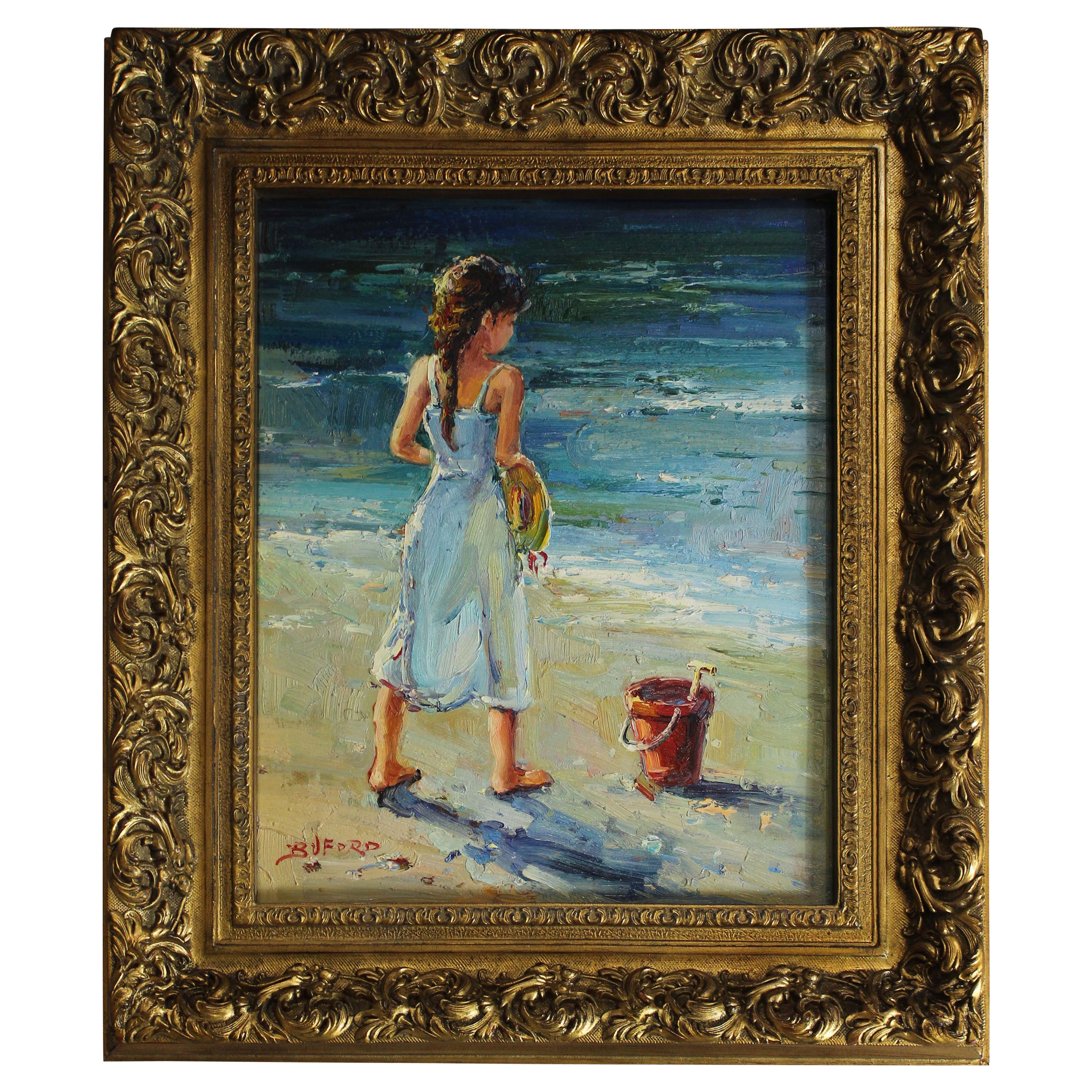 Oil Painting by Buford, Girl on the Beach