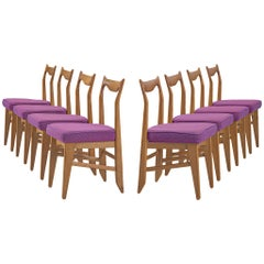 Guillerme et Chambron Set of Eight Dining Chairs in Oak