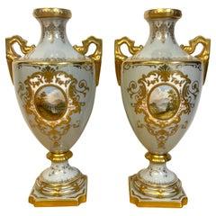 Pair of 19th Century Coalport Scenic Cabinet Vases