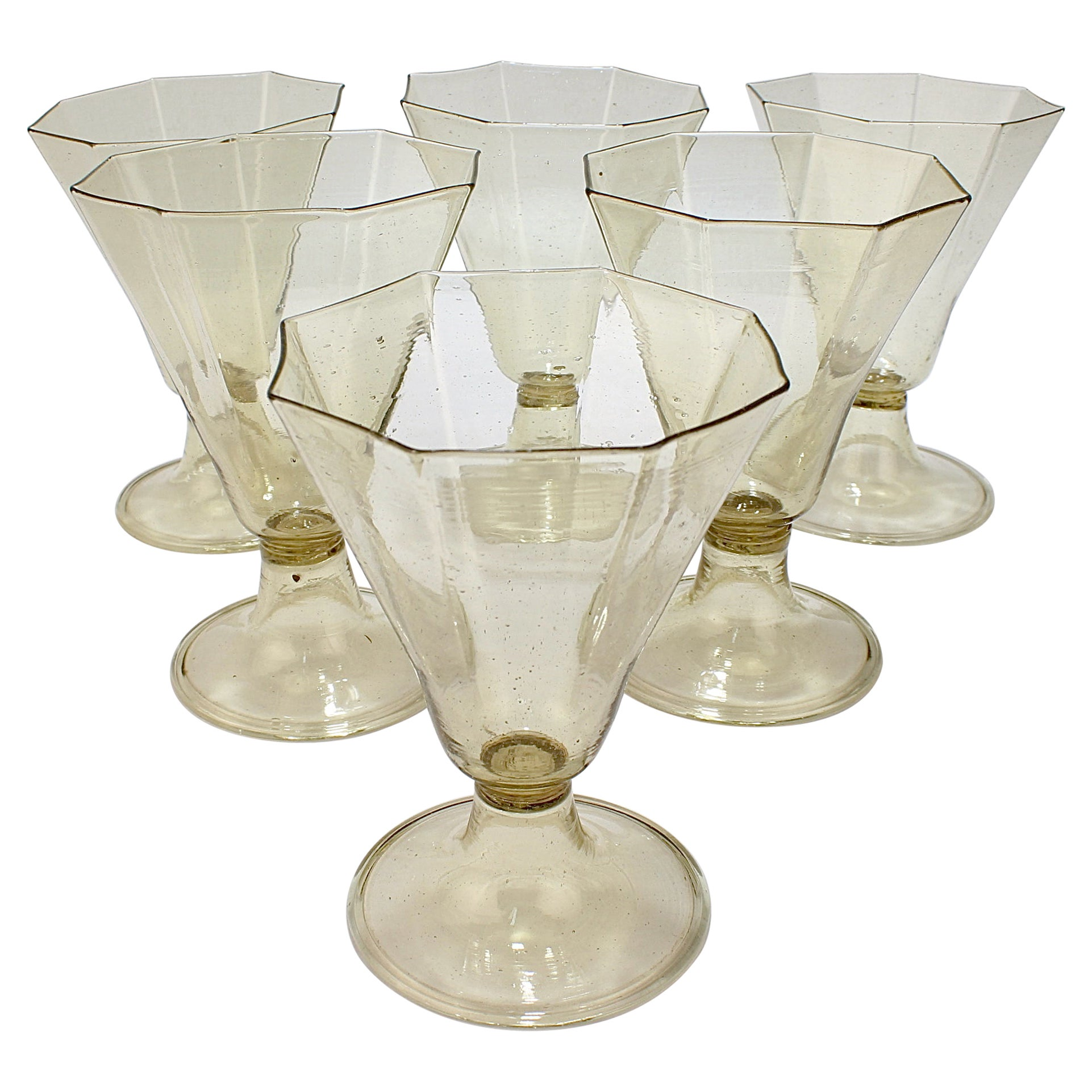 Set of 6 Vintage Venetian or Murano Amber Glass Wine Glasses