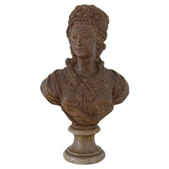 18th Century French Terracotta Bust of a Young Woman, Signed and Dated 1789
