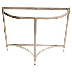 Hollywood Regency Demilune Polished Chrome Console Table