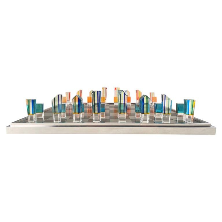 Mid-Century Modern Acrylic and Aluminum Chess Set by, Charles Hollis Jones For Sale