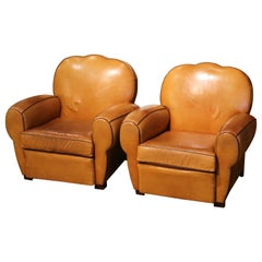 Pair of Mid-Century French Carved Club Armchairs with Original Tan Leather