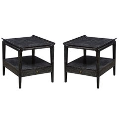 Pair of Mid-Century Modern Silver Cerused Nightstands/ End Tables w/ Brass Pull