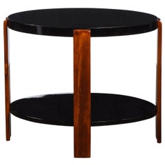 Art Deco Machine Age Streamlined 2 Tier Black Lacquer & Bookmatched Walnut Table