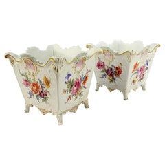 Pair of Antique 19th Century Meissen Porcelain Cachepot or Jardinieres