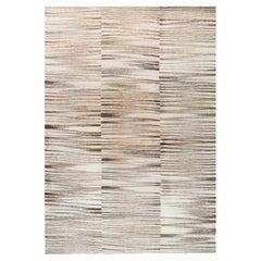 Doris Leslie Blau Collection Modern Zebra Design Beige Gray Flat-Weave Wool Rug