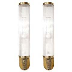 Pair of Art Deco Cubist Skyscraper Style Silvered Brass & Glass Rod Sconces