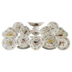 Machin Porcelain Dessert Service, Moustache Shape, White, Birds, Regency ca 1820