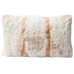 Modernist Rectangular Off White & Muted Orange Banded Rabbit Fur Pillow