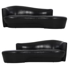 Pair of Weiman Black Leather Sofas