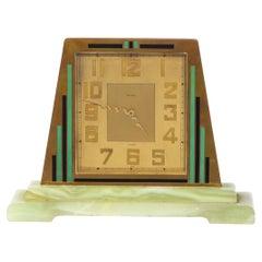Swiss Art Deco Machine Age Skyscraper Style Hand Painted Brass & Onyx Clock