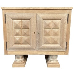 1940s Oak Side Cabinet by Charles Dudouyt with Carved Geometric Front Doors