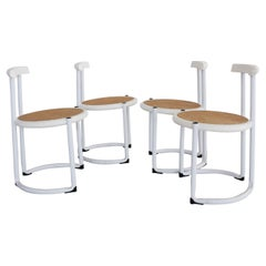 Italian Dining Chairs in White Tubular Metal, Wood and Cane, 1980s