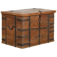 Rustic Indian 19th Century Wooden Trunk with Iron Hardware and Weathered Patina