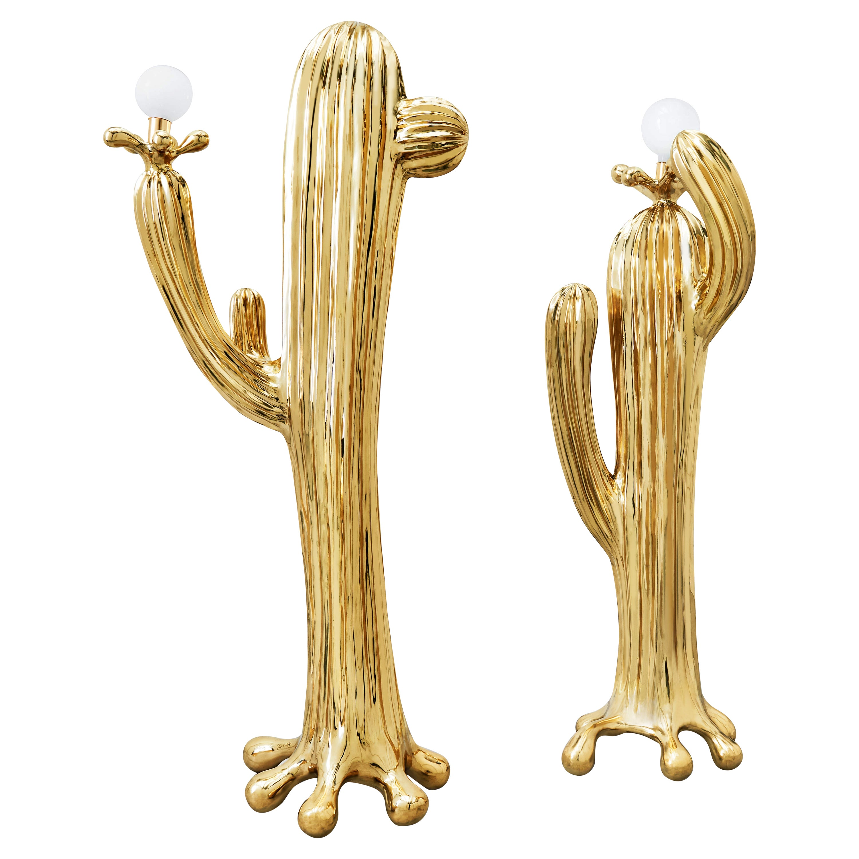 Saguaro No.1 & No.2 Floor Lamp Polished Brass Gold by Zhipeng Tan