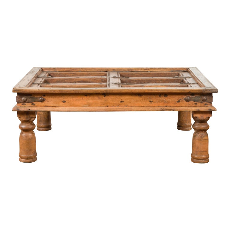 Indian 19th Century Sheesham Wood Courtyard Door Redesigned as a Coffee Table For Sale