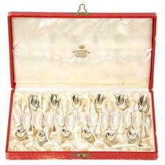Swedish Mid Century Set of 12 Demi Tasse Silver Plate Spoons by David Andersen