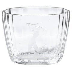 Mid-Century Modern Faceted Acid Etched Mermaid Vase Sven Palmquist for Orrefors