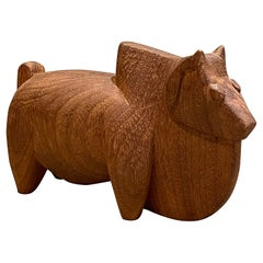 Modernist Hand Carved Figural Animal Sculpture Mahogany Wood, 1960s, India