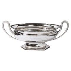 Swedish Art Deco Streamlined Silver Plate Beaded Trophy Bowl