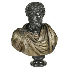 Fine Large 19th Century Continental Bronze Bust Depicting a Roman Dignitary
