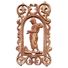French Cast Iron Figural Flatback Rust Patina Garden Panel