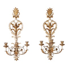 Pair of Antique Carved Wood Gilt and Painted Rococo Style Wall Sconces