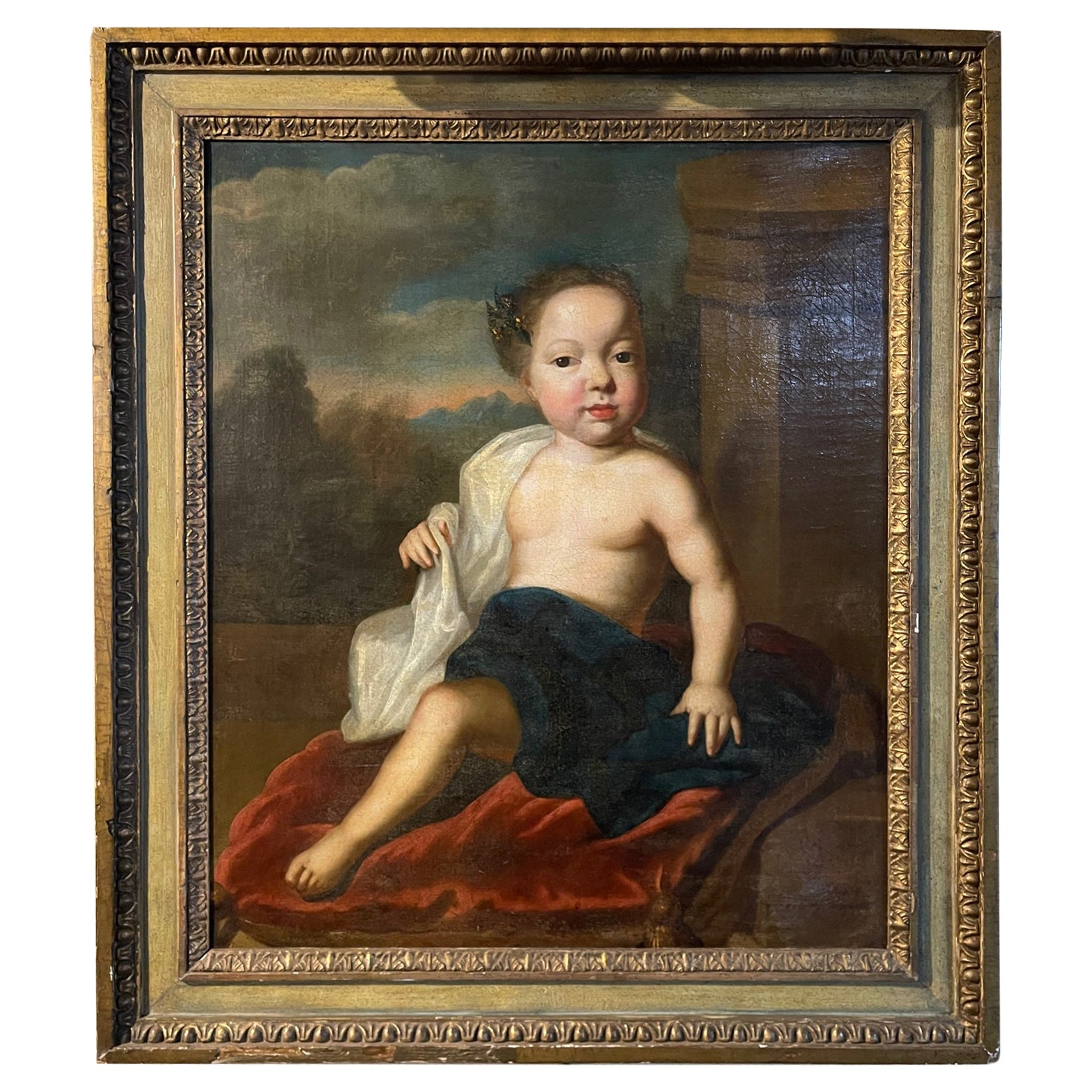Framed Oil on Canvas Portrait of a Child, 19th Century
