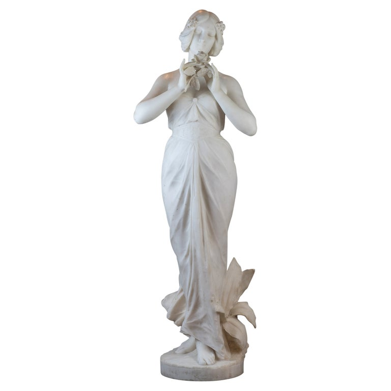 White Marble Statue Sculpture of a Beauty by Giuseppe Gambogi For Sale