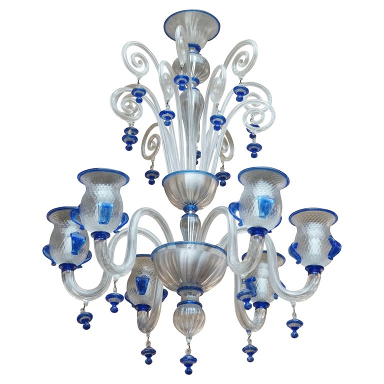 Italian Venetian Murano Colored Glass Chandelier For Sale