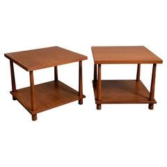 Pair of 1950's T.H. Robsjohn-Gibbings for Widdicomb Square End/Side Tables