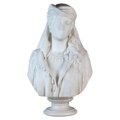White Marble Bust Statue of a Woman by Guasti
