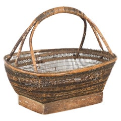 Chinese Rustic Vintage Woven Rattan Market Basket with Large Handle and Base