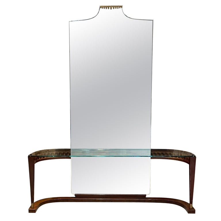 Italian Crowned Curved Console Table Full Mirror Style of Gio Ponti Italy 1950s