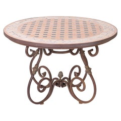 Vintage French Tile Top Table with Iron Base
