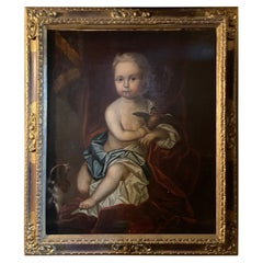 """Framed Oil on Canvas French """"Young Child Sitting"""", School of J. Van Loo, 19th C"""