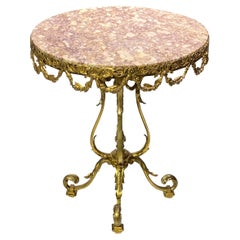 Round Marble Top Louis XVI Style Bronze Side Table