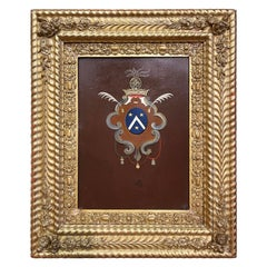 Early 19th Century French Hand Painted Crest on Metal in Carved Gilt Frame