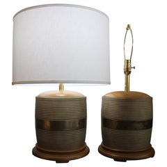 Pair of Brass and Sterling Inlaid Lamps